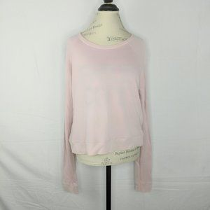 Freecity Pink Crop Long Sleeve Pullover Sweater